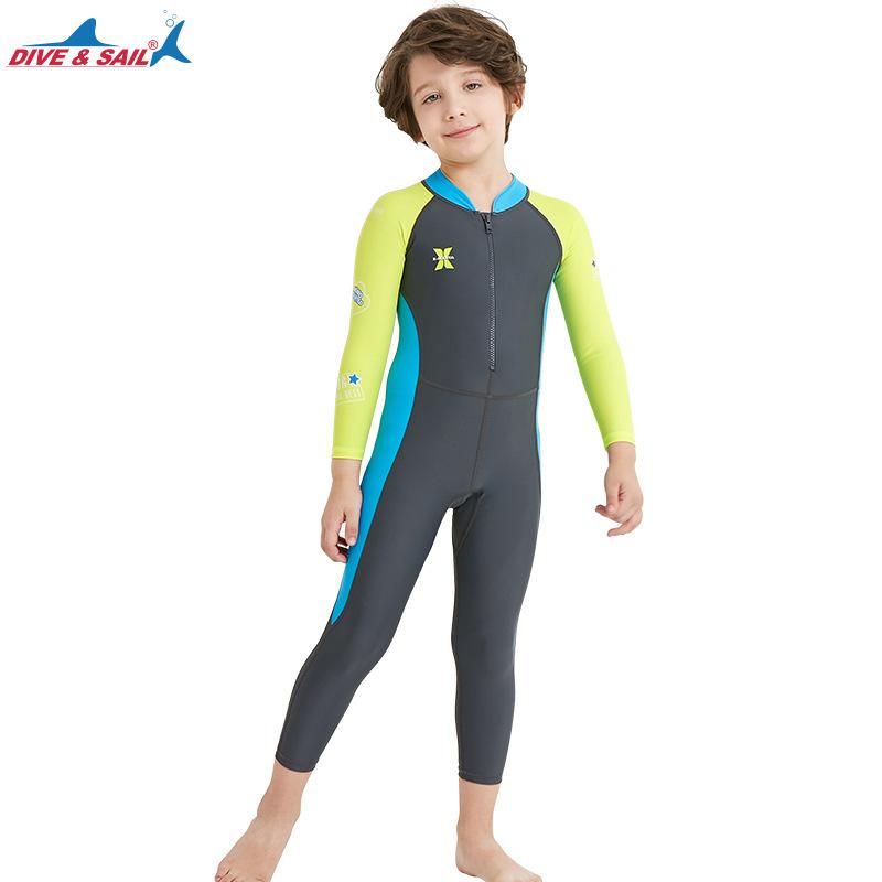ชุดว่ายน้ำเด็กชาย Dive & Sail จั๊มสูทแขนยาวขายาว กันรังสี UV