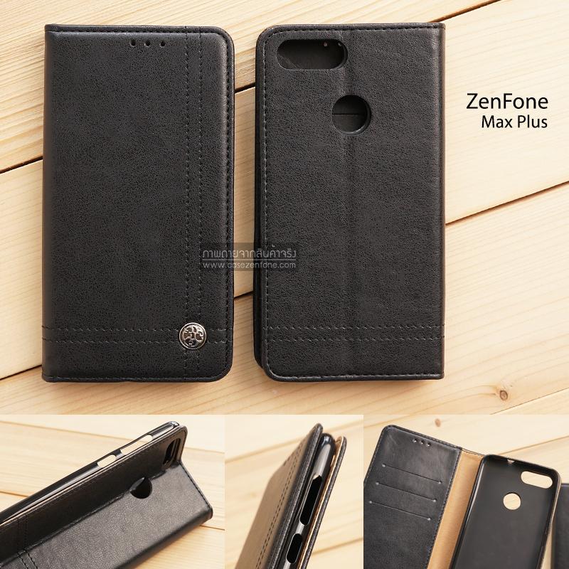 เคส Zenfone Max Plus (M1) เคสฝาพับเกรดพรีเมี่ยม ลายหนัง พร้อมช่องใส่บัตรด้านใน (พับเป็นขาตั้งได้) สีดำ (หมุดเหล็ก)