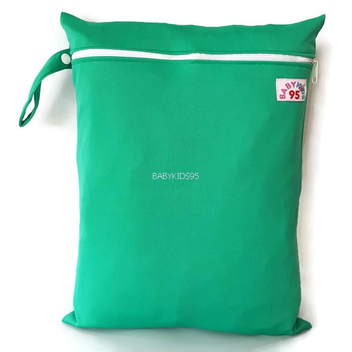 ถุงผ้ากันน้ำ 1 ช่อง Size: L (หูจับกระดุม) i3 -สีพื้น เขียวมิ้น