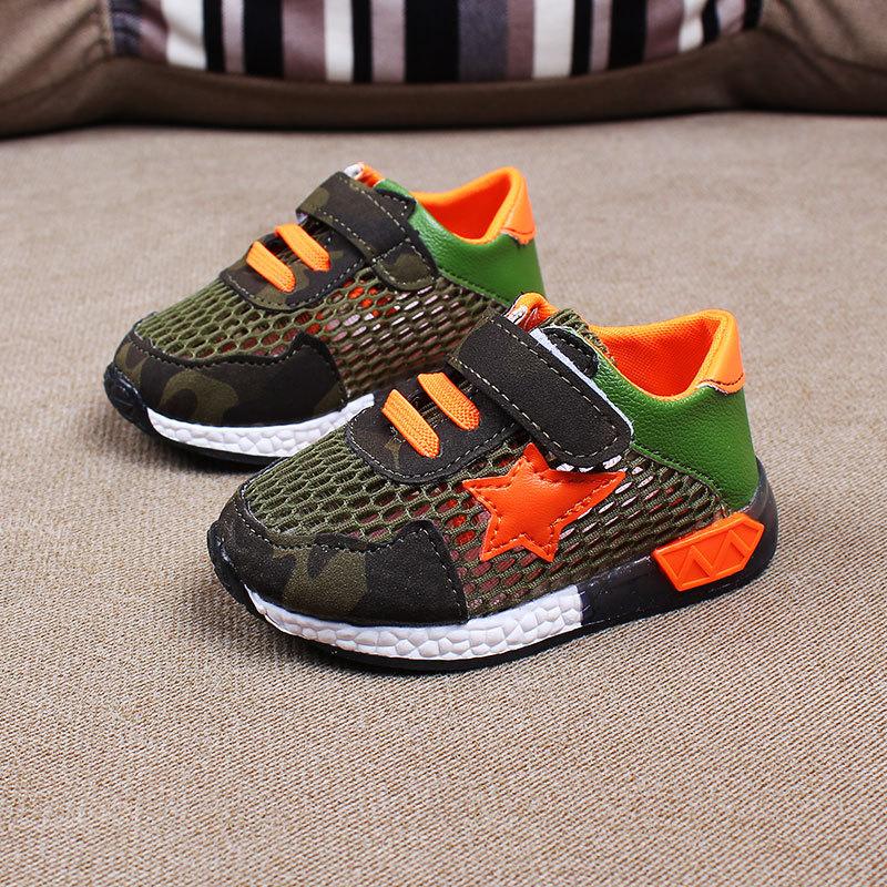 รองเท้าคัชชูเด็กเล็ก 0-2 ปี ทรงเท่ ลายพรางตาข่ายสีเขียว-ส้ม (เท้ายาว 11-13 ซม.)