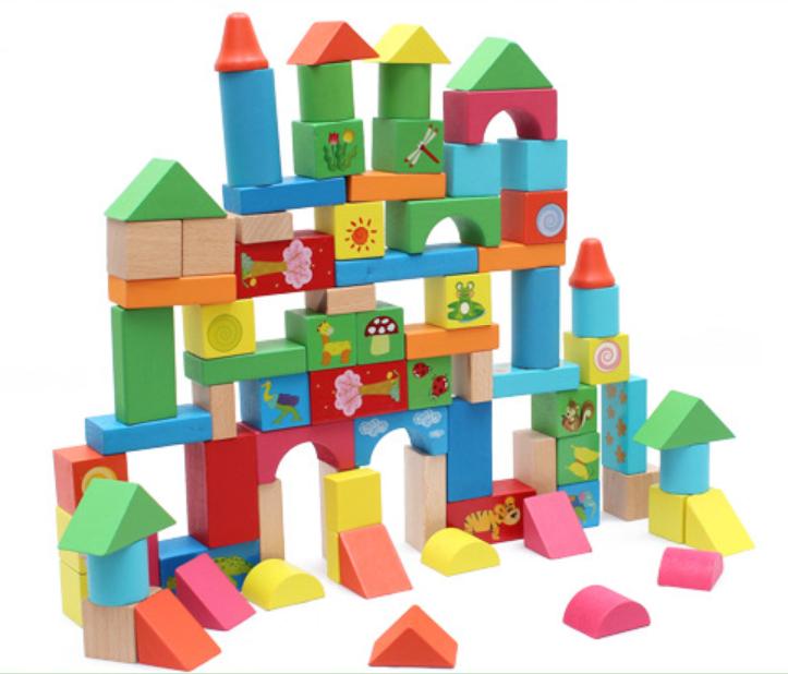 ชุดบล็อคไม้ของเล่น ทรงเรขา สร้างเมือง 80 ชิ้น