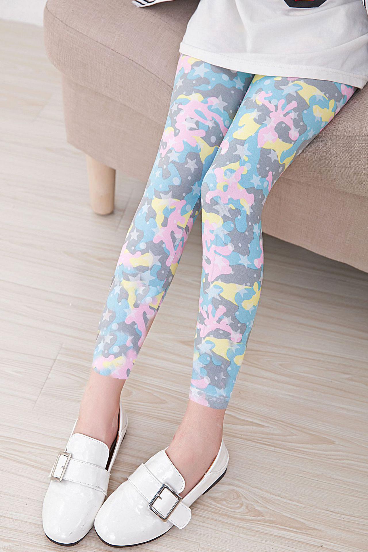 กางเกงเลคกิ้งเด็กหญิง ลายดาวหวานๆ ผ้าเบา นิ่มเด้ง ใส่สบาย (มีขนาดเด็กสูง 80-140 ซม.)