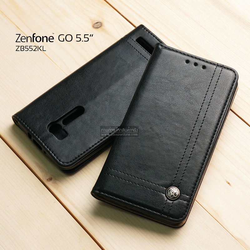 เคส Zenfone GO 5.5 นิ้ว (ZB552KL) เคสฝาพับเกรดพรีเมี่ยม ลายหนัง พร้อมช่องใส่บัตรด้านใน (พับเป็นขาตั้งได้) สีดำ (หมุดเหล็ก)
