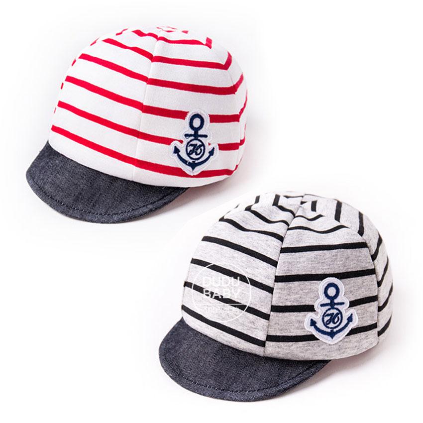 หมวกแก็ปเด็กอ่อน 0-12 เดือน ผ้ายืดเนื้อนิ่ม ลายทหารเรือ