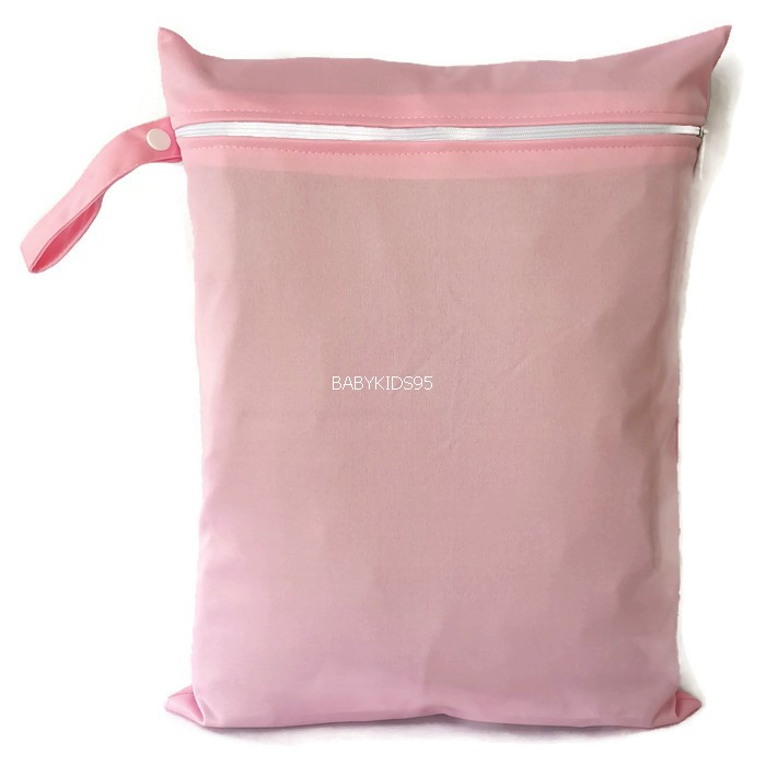 ถุงผ้ากันน้ำ 1 ช่อง Size: L (หูจับกระดุม) i3 -สีพื้น ชมพูอ่อน
