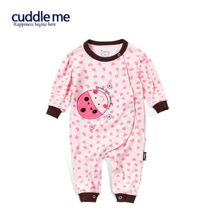 ชุดหมี จั๊มสูทเด็กหญิง CUDDLE ME แขนขายาว ลายหัวใจสีชมพูอ่อนเต่าทองน้อย 0-12 เดือน