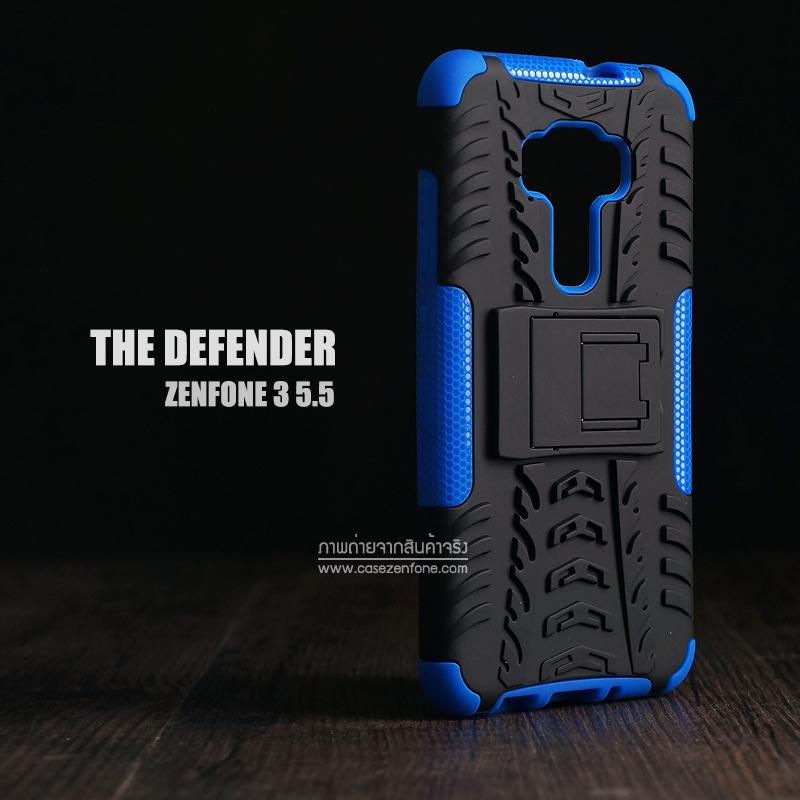 เคส Zenfone 3 (ZE552KL) 5.5 นิ้ว เคสบั๊มเปอร์ Defender กันกระแทก มีขาตั้งในตัว สีน้ำเงิน