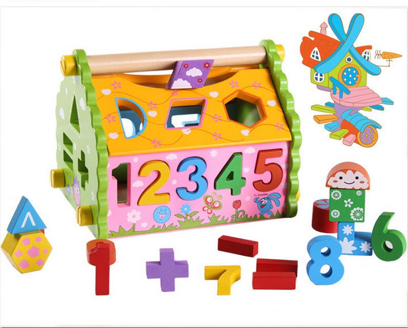 ของเล่นไม้ บ้านกิจกรรมหยอดบล็อค เสริมพัฒนาการ