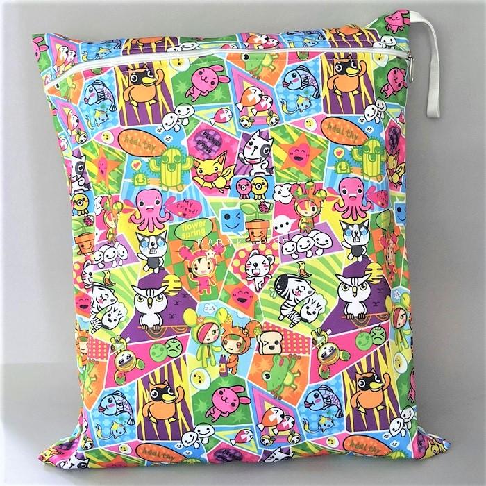 ถุงผ้ากันน้ำ 1 ช่อง Size: L (หูยางยืด) i5 -Cartoon