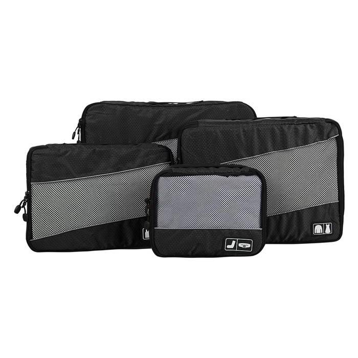 ชุดจัดกระเป๋าเดินทางคุณภาพดีมาก 4 ใบต่อชุด ใส่เสื้อผ้า ชั้นใน ถุงเท้า เข็มขัด (ฺBlack) (Ecosusi 4 Set Packing Cubes Travel Organizers)