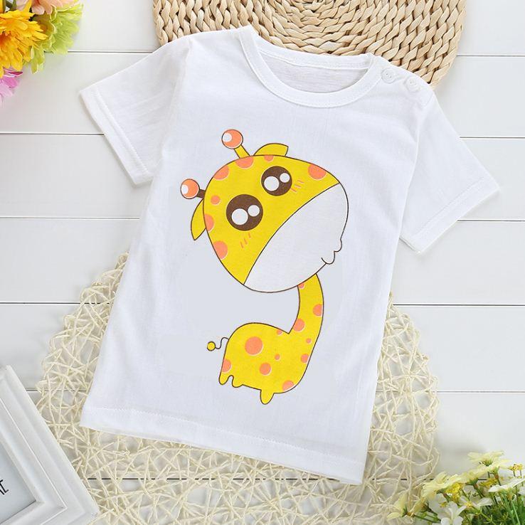 เสื้อยืดเด็กเล็ก ลายยีราฟ มีกระดุมข้างคอ สำหรับเด็กวัย 1-4 ปี