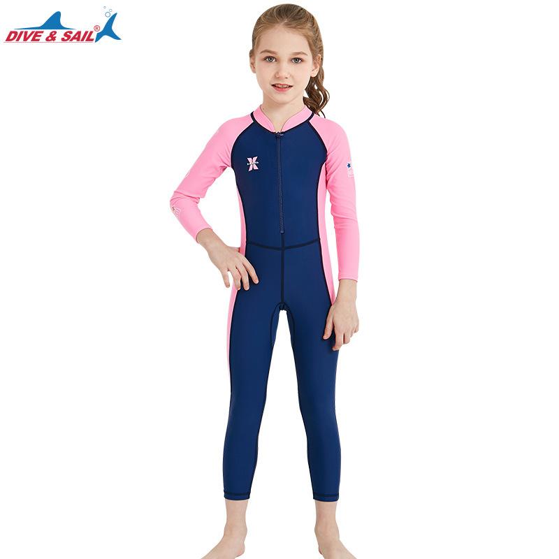 ชุดว่ายน้ำเด็กหญิง Dive & Sail จั๊มสูทแขนยาวขายาว กันรังสี UV
