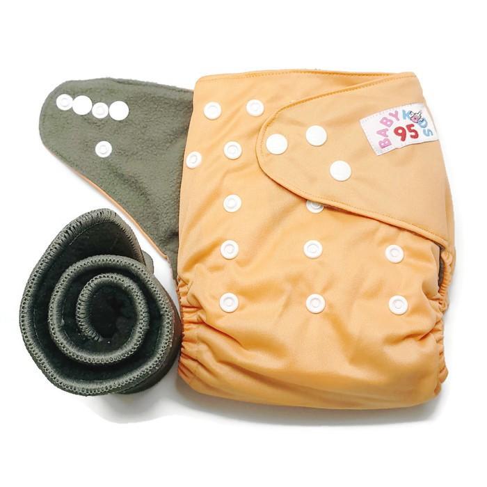 กางเกงผ้าอ้อมชาโคลขอบปกป้อง-สีพื้น แถมแผ่นซับชาโคล5ชั้น -Light Orange
