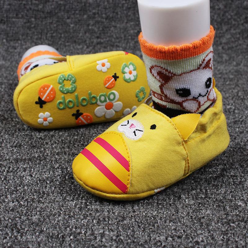รองเท้าหัดเดินเด็กอ่อน ลายแมวสีเหลือง วัย 0-12 เดือน