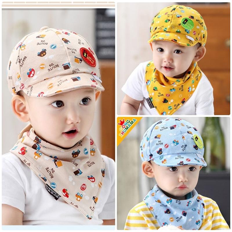 หมวกแก๊ปและผ้ากันเปื้อน Let's Ride! เด็ก 3-24 เดือน