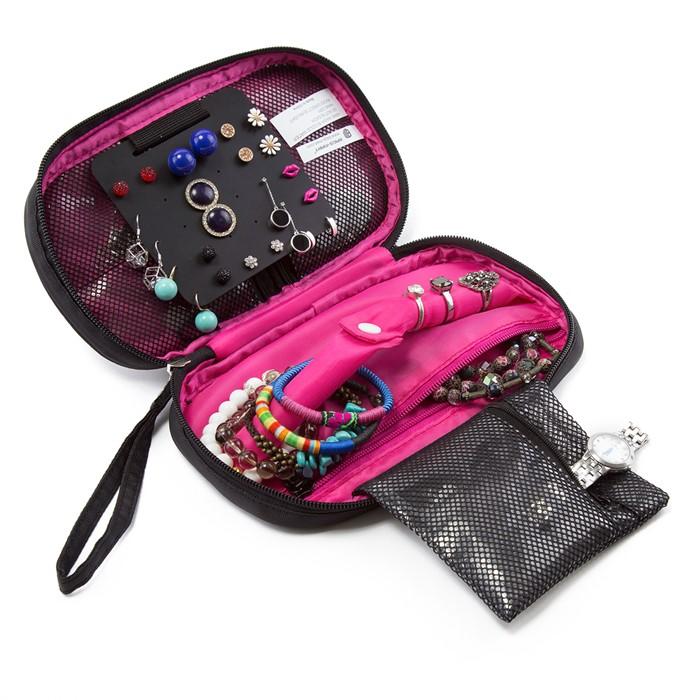 กระเป๋าใส่เครื่องประดับ จัดเก็บสร้อยข้อมือ ต่างหู แหวน สร้อยคอ กำไล นาฬิกา คุณภาพสูง (Rose Pink)