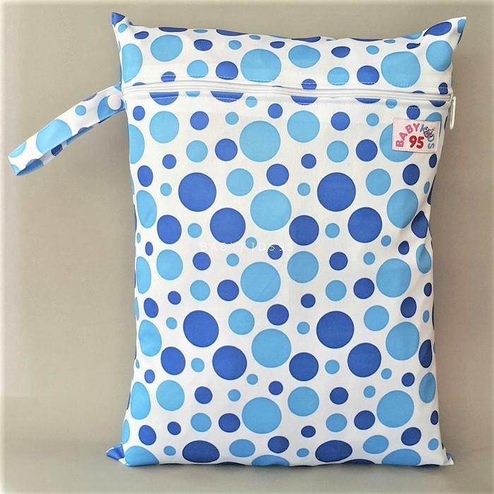 ถุงผ้ากันน้ำ 1 ช่อง Size: L (หูจับกระดุม) i2 -Blue Dots