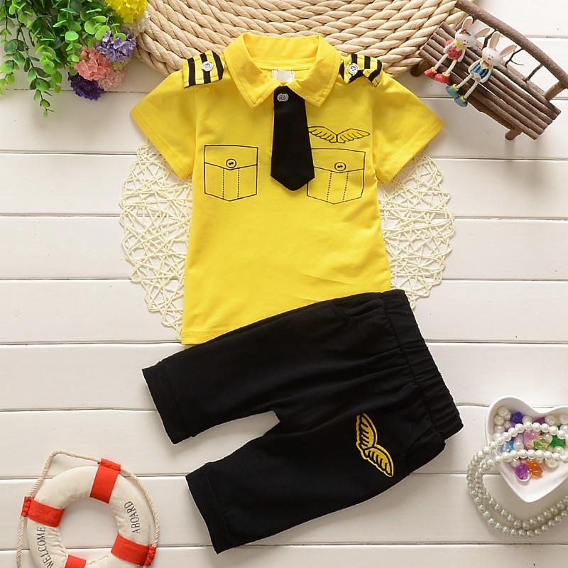 ชุดกัปตันเด็ก นักบินน้อยสุดเท่ห์ เสื้อสีเหลือง+กางเกงดำ Size 80-100