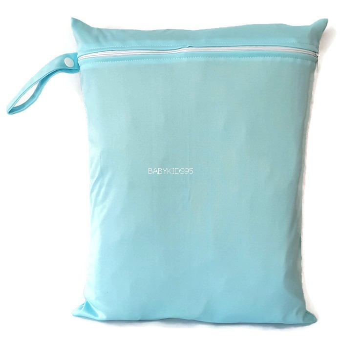 ถุงผ้ากันน้ำ 1 ช่อง Size: L (หูจับกระดุม) i3 -สีพื้น ฟ้าอ่อน