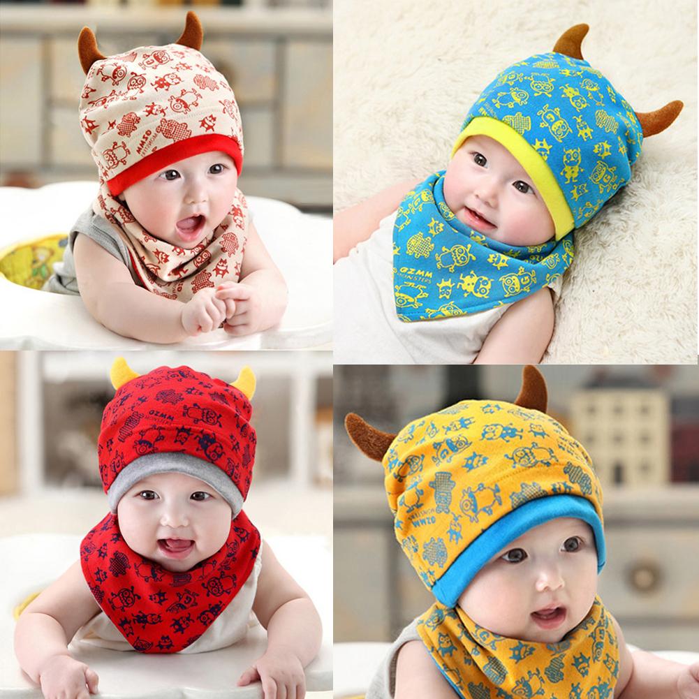 หมวกและผ้ากันเปื้อนเด็กอ่อนผ้ายืด ปีศาจน้อย