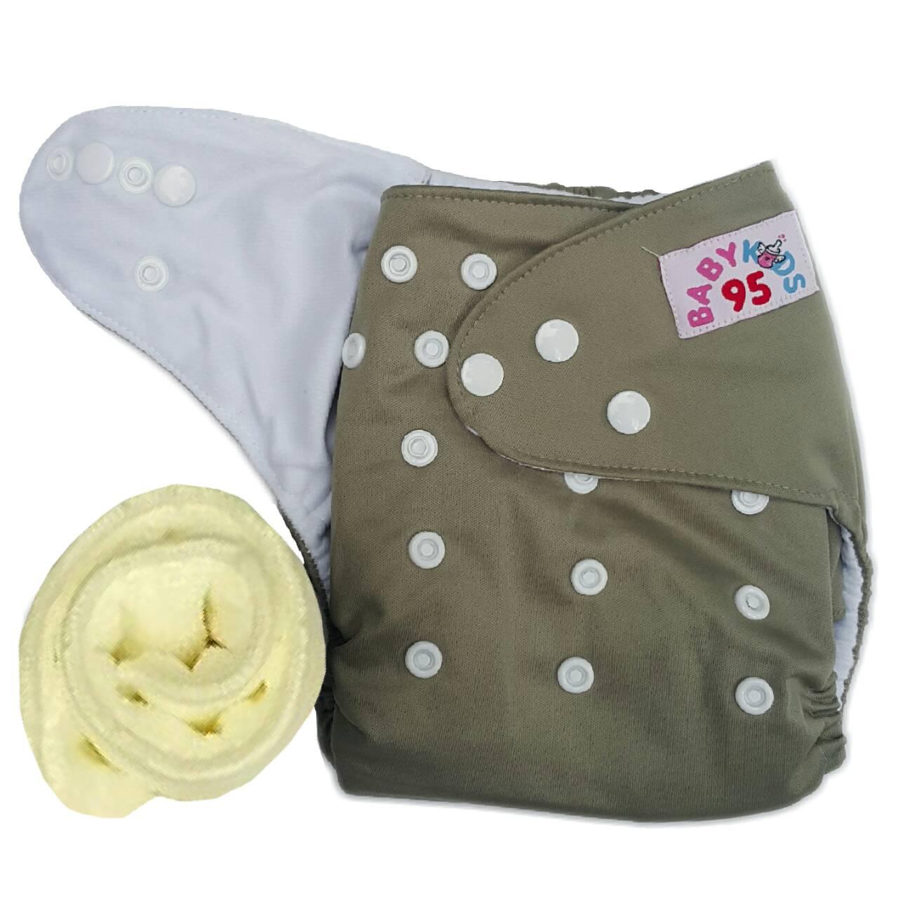 กางเกงผ้าอ้อมกันน้ำ+แผ่นซับไมโครฯหนา3ชั้น Size 3-16 kg.-Gray