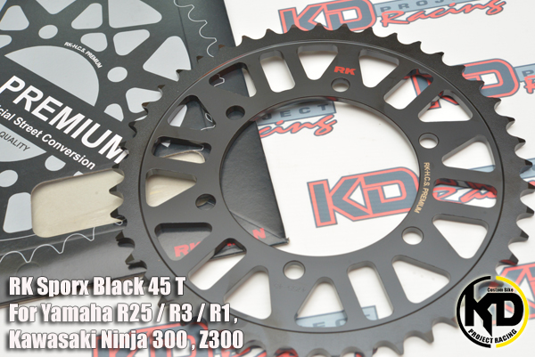 RK Sporx Black 45 T For Yamaha R25 / R3 / R1