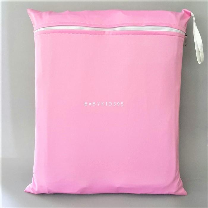 ถุงผ้ากันน้ำ 1 ช่อง Size: L (หูยางยืด) i4 -สีพื้น ชมพูอ่อน