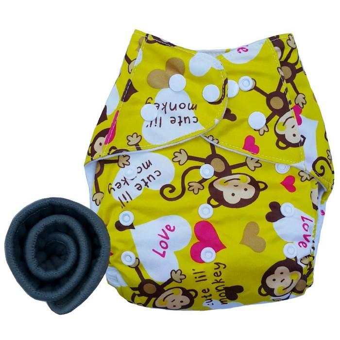 กางเกงผ้าอ้อม PUL +แผ่นซับชาโคล Monky Yellow