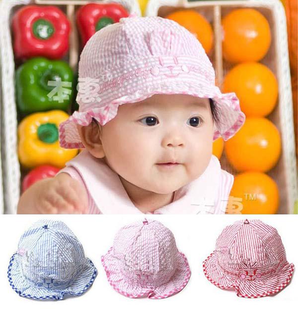 หมวกเด็กหญิง ลายกระต่าย ผูกหลัง สำหรับเด็ก 6-24 เดือน