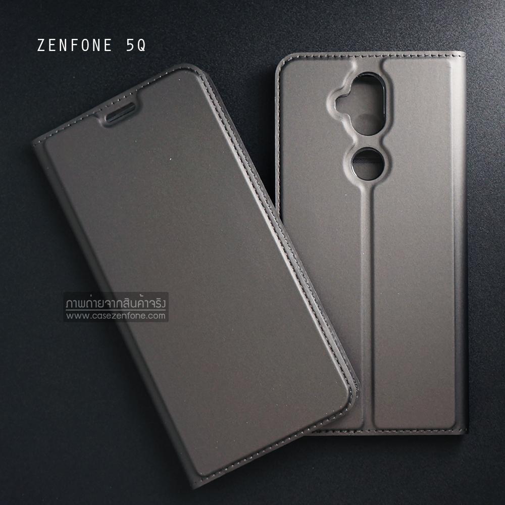 เคส Zenfone 5Q (ZC600KL) เคสฝาพับเกรดพรีเมี่ยม (เย็บขอบ) พับเป็นขาตั้งได้ สีเทา (Dux Ducis)
