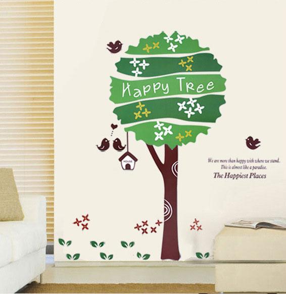 สติกเกอร์แต่งห้อง DIY ลาย Happy Tree ลอกออกแล้วติดซ้ำได้
