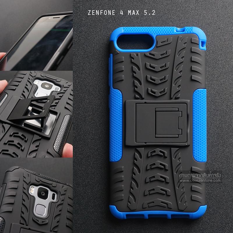 เคส Zenfone 4 Max 5.2 ( ZC520KL ) กรอบบั๊มเปอร์ กันกระแทก Defender สีน้ำเงิน (เป็นขาตั้งได้)