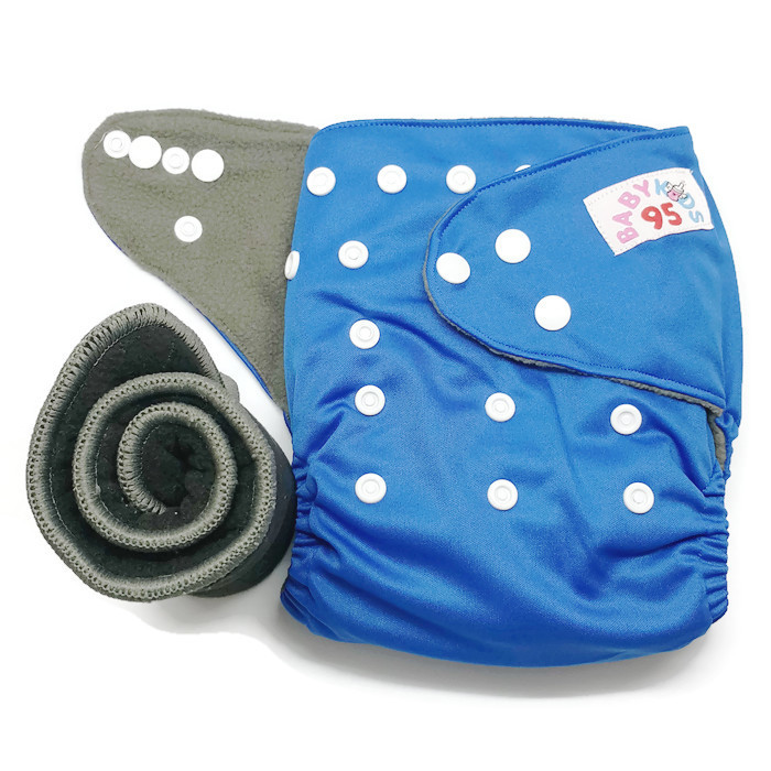 กางเกงผ้าอ้อมชาโคลขอบปกป้อง-สีพื้น แถมแผ่นซับชาโคล5ชั้น -Dark Blue