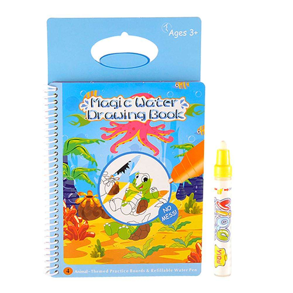 สมุดกระดานน้ำ ระบายสีรูปสัตว์น้ำ YIQU Water Drawing Book - Sea Animal