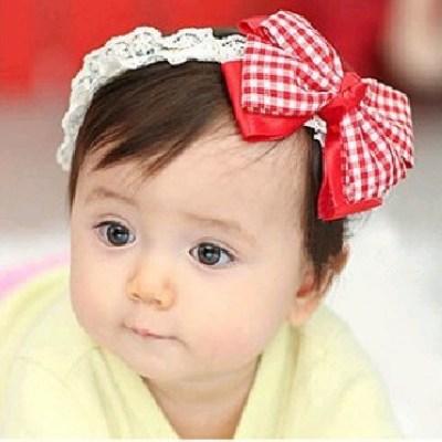ผ้าคาดผมทารก โบว์แดงขาว สไตล์เกาหลี