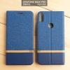 เคส Zenfone Max Pro (M1) เคสฝาพับหนัง PVC มีช่องใส่บัตร สีกรมท่า