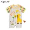 จั๊มสูทเด็ก Augelute แขนสั้น ลายยีราฟ สำหรับเด็ก 3-24 เดือน