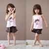 ชุดเสื้อสายเดี่ยว+กางเกงขาสั้นเด็ก ลายเด็กหญิง size 110