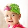 ผ้าคาดผมเด็กขนนก Princress สีเขียวประดับคริสตันติดโบเลื่อม