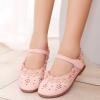 รองเท้าคัทชูเด็กหญิงหนัง PU ฉลุดอกไม้สีชมพูสวยหวาน Size 26-35