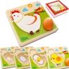 ของเล่นไม้ จิ๊กซอวงจรชีวิตของไก่ เพื่อการศึกษาเรียนรู้ธรรมชาติ+ต่อจิ๊กซอฝึกสมอง
