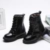 รองเท้าบู๊ทเด็ก สีดำ ผูกเชือกหลอก มีซิปข้าง เท่ห์ หรู Size 27-37