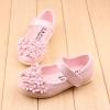 รองเท้าคัทชูเด็กหญิงสีชมพูอ่อนประดับพุ่มดอกไม้น่ารัก Size 21-25