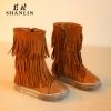 รองเท้าบู๊ทยาวเด็กสีน้ำตาล ซิปข้าง Size 27