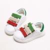 รองเท้าคัชชูเด็กสีขาว เทปสีแดงเขียว Size 27-30