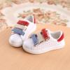 รองเท้าคัชชูเด็กสีขาว เทปสีแดงฟ้า Size 26-30