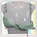 เสื้อชั้นในให้นมลูก มีโครง เสริมฟองน้ำ ลายจุดสีเขียว รุ่นเปิดบน size 40/90 แพ็ค 1 ตัว)