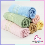 ผ้าขนหนู cotton 100% size 24x48 นิ้ว อย่างดี เนื้อนิ่มฟู ขนไม่ร่วงติดผิว แพ็ค 6 ผืน