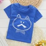 เสื้อยืดเด็กเล็ก ลายแมวสีฟ้าเข้ม มีกระดุมข้างคอ สำหรับเด็กวัย 2-4 ปี