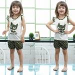 ชุดเสื้อแขนกุดมีระบาย+กางเกงขาสั้นเด็ก ลายแมวน้อยสีดำ size 90 110 120